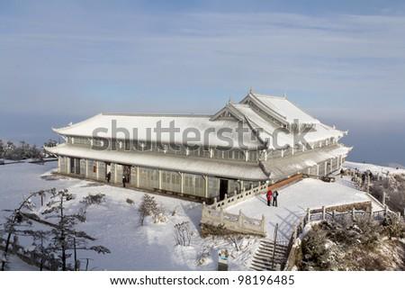 A white temple on the peak - stock photo