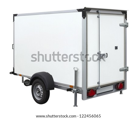 a white trailer isolated on white back - stock photo