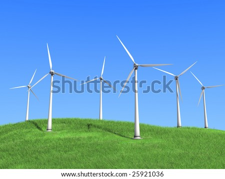 A white wind turbines against the sky - stock photo