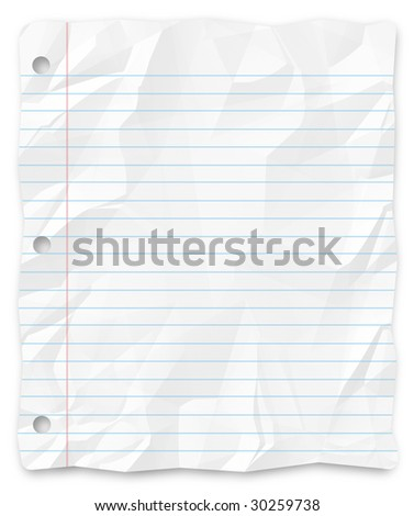A white, wrinkled piece of lined school paper background for slides, brochures and presentations. - stock photo