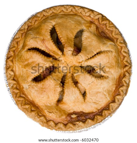 A whole apple pie isolated on white. - stock photo