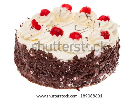 A whole black forest cake isolated on white background - stock photo