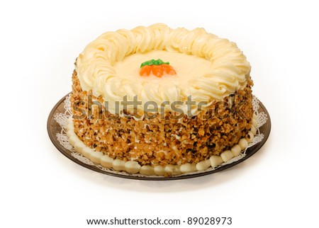 A whole delicious Carrot Cake on white - stock photo