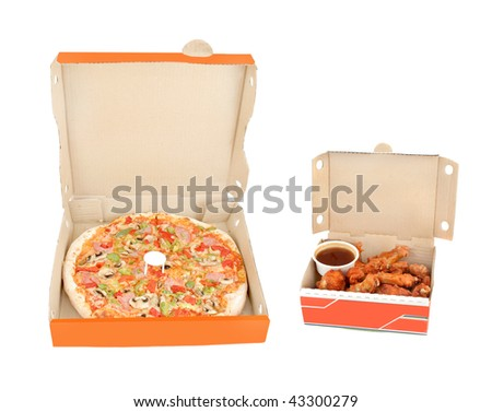 a whole ham with mushrooms and colorful pepper pizza inside delivery box and crispy golden chicken wings with honey garlic dip on a white background