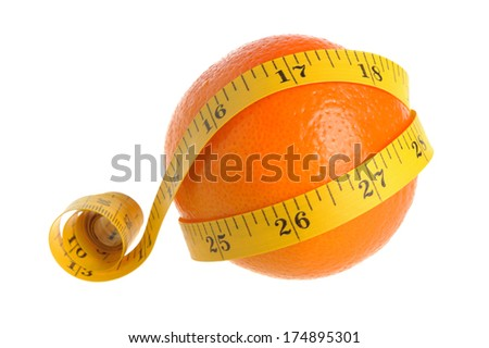 A whole orange wrapped with measure tape on white background isolated