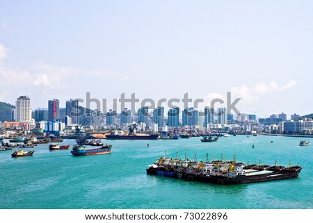 A whole view of the Phoenix Island Harbor of Sanya city, China