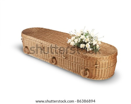 a wicker bio-degradable eco coffin isolated on white with clipping path - stock photo