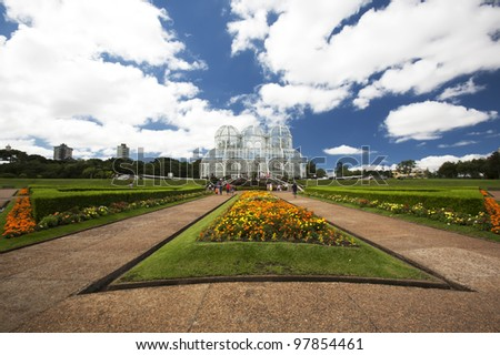 A wide angle capture of the beautiful grounds and botanical garden building in Curitiba, Brazil in South America. - stock photo
