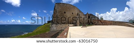 A wide angle panoramic view of the historic San Cristobal fortification located in Old San Juan Puerto Rico. - stock photo