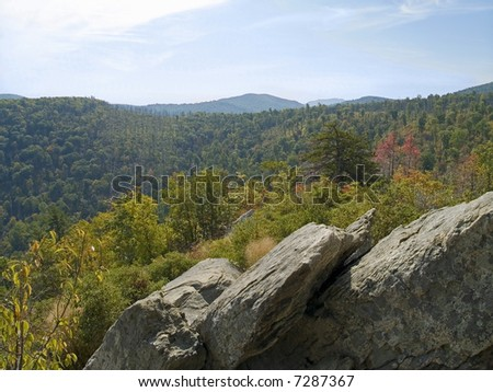 A wide angle scenic view of the mountains along Skyline Drive in Shenandoah National park in West Virginia. - stock photo