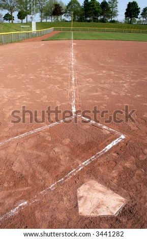 A wide-angle shot looking down the left field line from the plate and batters box. - stock photo