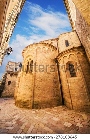 A wide angle shot of a church in Kotor Old Town, Montenegro - stock photo