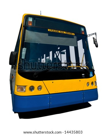 A wide angle shot of a parked yellow and blue bus, isolated on white Bus also has a blank destination board so you can write your own destination by colouring the lights - stock photo