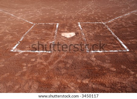 A wide angle shot of empty batter's boxes and home plate. - stock photo