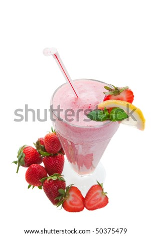 A wide angle top view of a smoothie shake studio isolated - stock photo