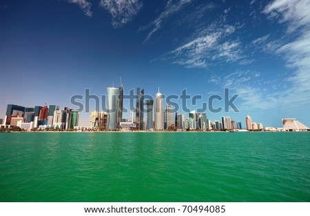 A wide-angle view of the Doha skyline in February 2011 - stock photo
