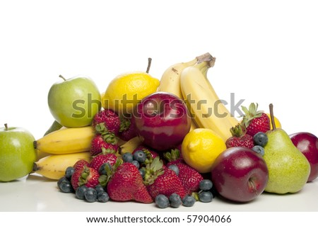A wide assortment of delicious and fresh fruits - stock photo
