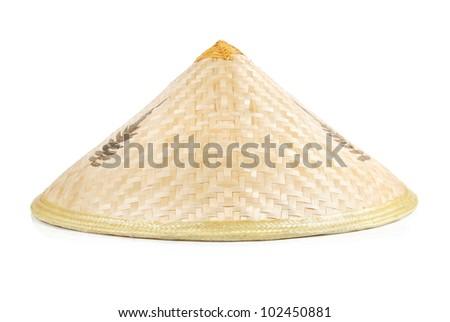 A wide-brimmed rain hat - stock photo