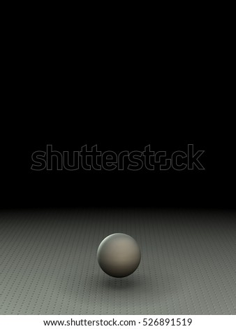 A wide dark room with a geometric object. (3D Rendering)