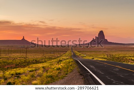 A wide open scene framing a historic highway in Arizona.  - stock photo