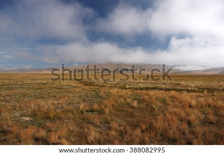 A wide valley with yellow grass on the Ukok plateau, under a cloudy sky on the background of mountain ranges, the Altai mountains, Siberia, Russia - stock photo