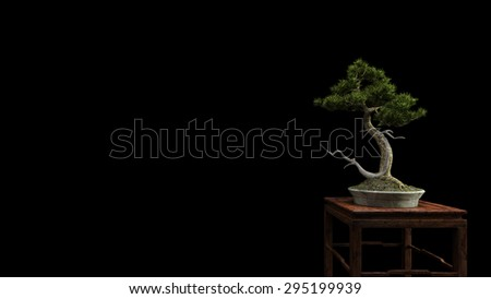 a wide variety of bonsai plants are placed in the flower garden-3D rendering - stock photo