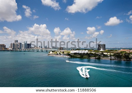 A Wide View of the Port Of Miami - stock photo