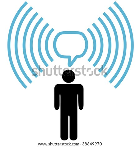A wifi symbol person communicates blog or other info over wireless broadband network copy space. - stock photo