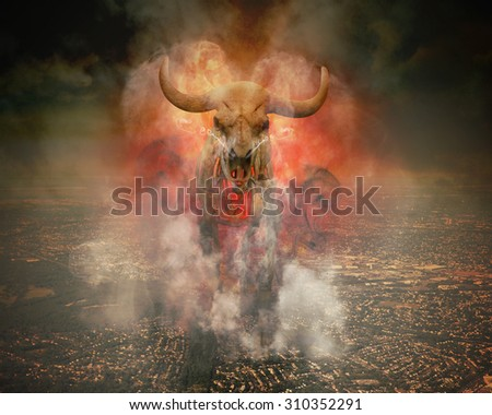 A wild skeleton bull with fire and smoke burning around it is walking on top of a polluted city horizon for a destruction or global warming concept. - stock photo