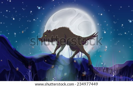 A Wild Wolf, A cartoon style scary wild wolf prowling along in front of a large moonlit sky. - stock photo