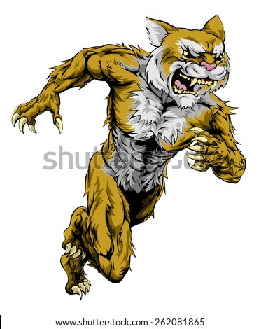 A wildcat man character or sports mascot charging, sprinting or running