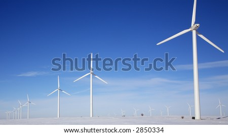 A wind turbine farm in winter