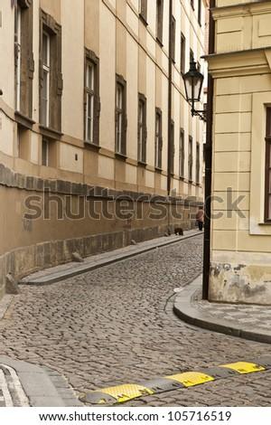 A winding side road in Czech Republic. - stock photo