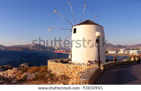 A windmill coffeehouse in a Greek island in the Aegean, - stock photo