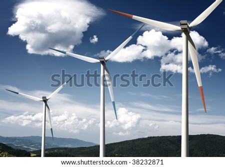 A windmill in a mountain working with the air
