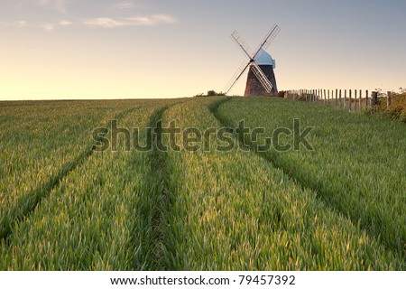 A windmill lit by the setting sun in a green field in Sussex.