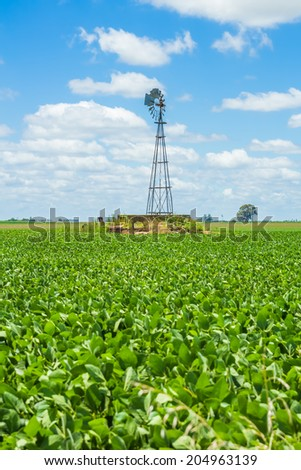 A windmill on the middle of a beautiful field under a blue sky - stock photo
