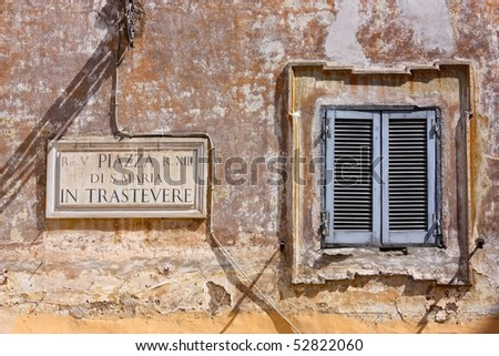 A window in Trastevere, Rome, Italy - stock photo