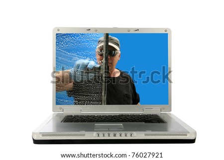 a window washer washes a laptop computer from the inside out on a generic laptop isolated on white with room for your text