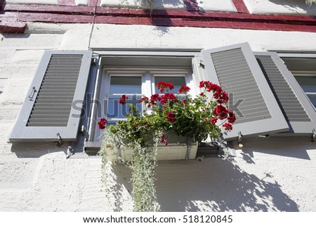 A window with open shutters and geranium outside
