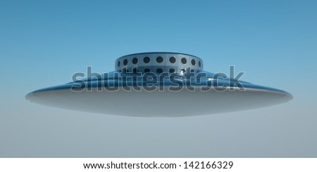 A windowed flying saucer shaped UFO. 3D rendering - stock photo