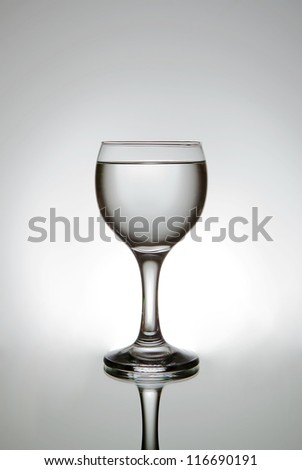 A wineglass with some water in it.