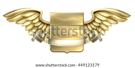 A winged metal shield heraldic heraldry coat of arms design with a banner scroll - stock photo
