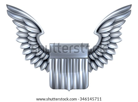 A winged silver or steel metal shield heraldic heraldry coat of arms design with United States flag stripes - stock photo