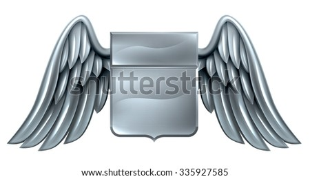 A winged silver steel metal shield heraldic heraldry coat of arms design - stock photo