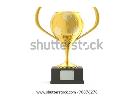 a winner cup in soccer competition isolated on white - stock photo