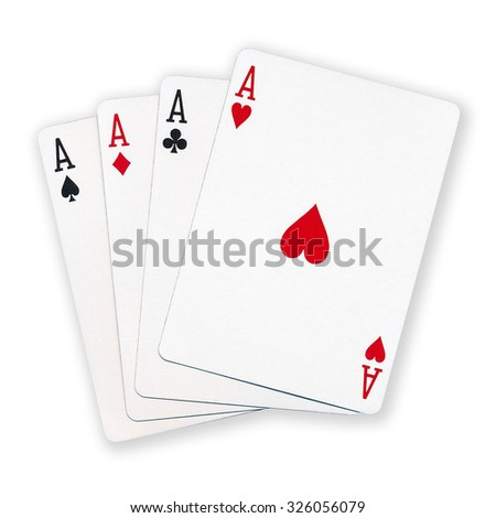 A winning poker hand of four aces playing cards suits on white background