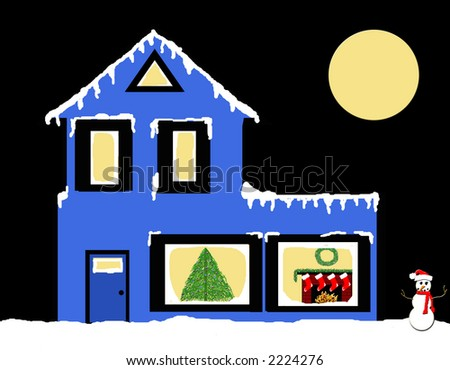 A winter home decorated for the holiday. - stock photo