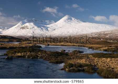A winter landscape on Rannoch Moor in the Scottish Highlands. - stock photo