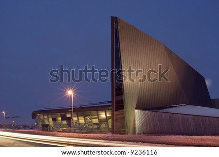 A winter night shot of the Canadian War Museum in Ottawa. - stock photo